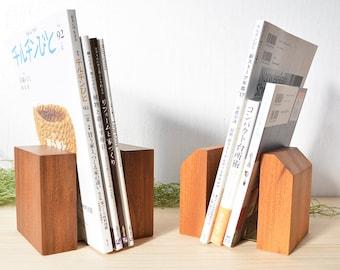 Rustic Wood Bookends, Walnut / Zelkova wood, Wooden Modern bookends, Book &  Readers