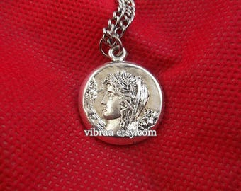 Goddess Demeter & Apollo Ancient Coin Reversible Necklace Pendant