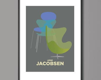 Arne Jacobsen, Egg Chair Print, Mid Century Modern Print, Furniture Poster,Living Room Wall Art, Bedroom Wall Art, bedroom decoration