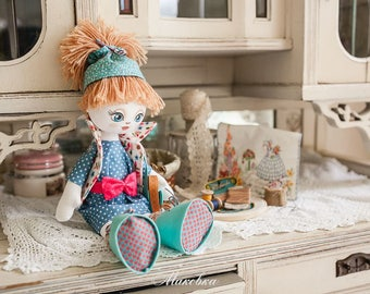 "Doll Making Kit, Set for sewing doll, Textile doll ""Clever girl"", Set for textile doll, Handmade doll, Sewing kit"