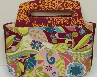 Floral Fabric Purse, cotton Handbag, Tote with Rigid Handle and Recessed Zipper, Mauve, Pink, Multicolored