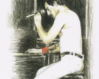 Freddie - coloured pencil print