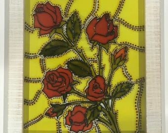 Roses, Flowers, Spring, Sun catcher, Glass painting, Fragrance
