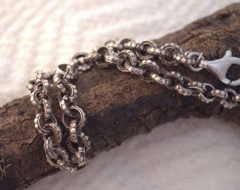 Custom made sterling silver heavy link chain