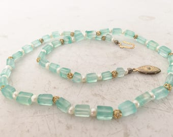 Sea foam glass beaded vintage  necklace