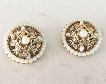 Vintage signed B.S.K pearl and rhinestone earrings