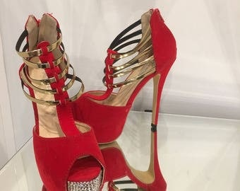 Red stiletto open toe, strappy bling shoes