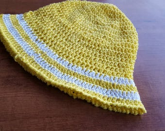 Crocheted Sun Hat, child hat, yellow and white