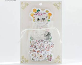 Organza Bag Sticker Colorful  DIY Cat Planner Diary Accessories Decoration Scrapbook Lifelog Stickers,  Cute Cat Sticker Flakes