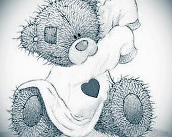 Black and White Teddy Bear Print