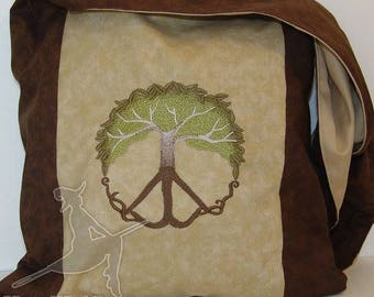 Classic Peace Tree Brown and Tan Magical Monk bag