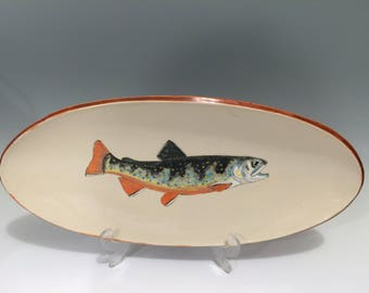 Gone Fishin' Hand Painted Stoneware Brook Trout Serving Dish