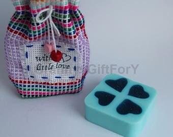 Glitter Hearts Soap - Handmade Soap - Natural Soap - Best Friend's Gift