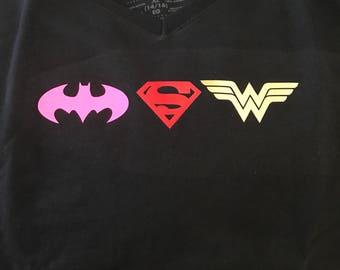Batgirl Wonder Woman super man shirt