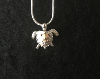 Sterling Silver Turtle with 14KT Gold Plated Baby Turtle (moving flippers)