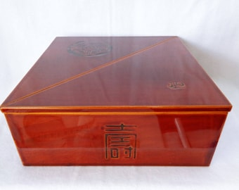 VJ56 : Nice Japanese Hida Shunkei-Nuri Urushi Layered Wood Bento Box