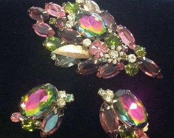 Rhinestone Multicolored Brooch and Earring Set