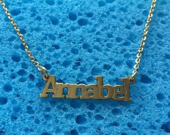 Annabel name necklace, sterling silver 925, gold plated