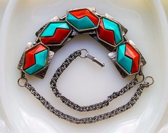 Vintage Silver Geometric Necklace - Turquoise and Coral Red