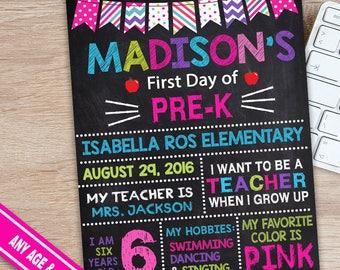 Firs Day of Pre-K Sign - Pre K Chalkboard Sign - PreSchool Chalkboard Sign