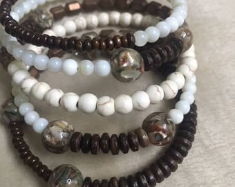 Unique beaded wrap bracelet, browns and creams