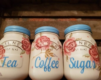 Rose and Bee Tea Coffee Sugar kilner kitchen canisters Emma Bridgewater themed