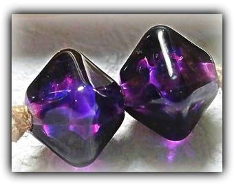 Grape Kaleidoscope**EARRING Pair**Handmade Lampwork Beads**Angela Bohanan**