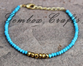 Turquoise & Golden Pyrite 3-4mm Roundel Faceted Beaded Gold Plated Bracelet