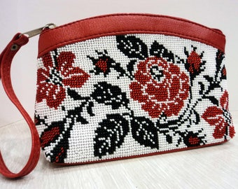 Embroidered cosmetic bag Makeup bag with flowers Ukrainian accessory Beaded purse Makeup organizer Red cosmetic case Embroidered handbag