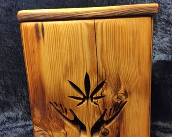 Cannabis Leaf with Hands Stash Container