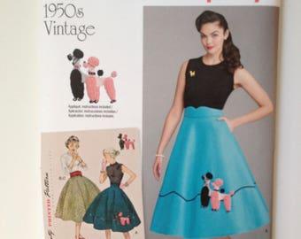 Simplicity 8446 Misses Vintage Poodle Skirt Cummerbund 1950s Rock N