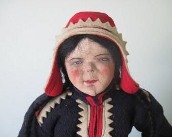 Vintage Cloth and Felt Tea Cozy Doll Finnish Scandinavian Laplander Martha Martta c1940 Folk Costume