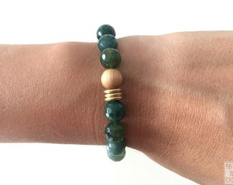MOSS agate faceted beads and wood with 3 golden rings beaded bracelet