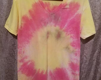 Pink and yellow tie dye tee