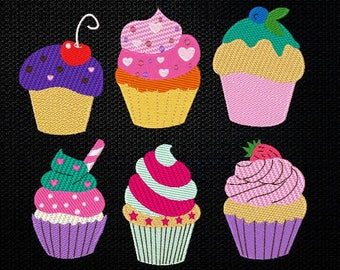 Cupcakes Embroidery Designs SET , 4x4 & 5x7  Inches Instant Download!