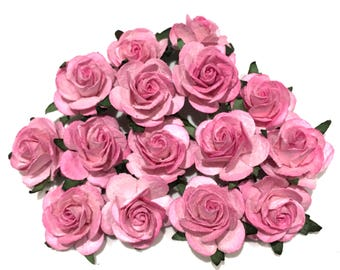 Deep Pink Open Mulberry Paper Roses Or034