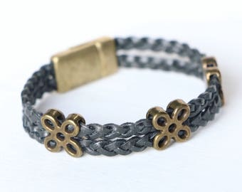 Gold Flower and Slate Braided Leather Bracelet