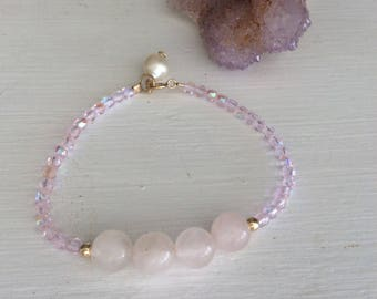 Love & Serenity Rose Quartz bracelet with fire polished glass beads and pearl dangle