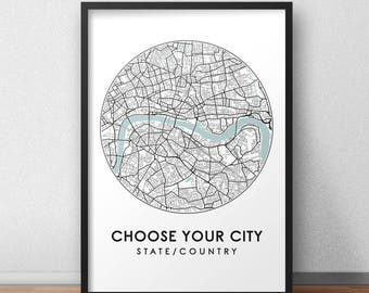 Custom City Print, Street Map Art, Custom Map Poster, Custom Map Print, City Map Wall Art, Custom Map, Travel Poster, Customized