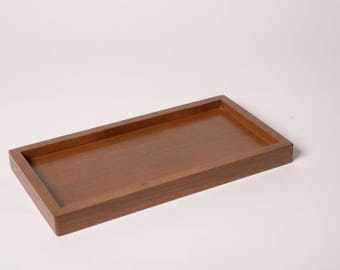Chocolate brown  wooden tray for 3-soap dish