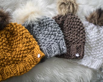 Seed Knit Beanie with Faux Fur Pom