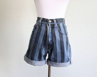 1980s Vintage Striped Jean Shorts