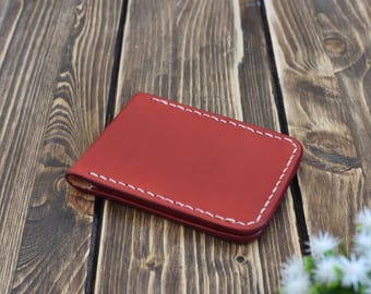 Red Leather wallet, Minimalist wallet, Men's leather wallet, handmade leather wallet, leather card holder, gift for Men, Father's Day gift