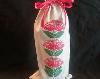 Linen Wine Gift Bag stenciled with O'hia-Lehua - Free Shipping US Only