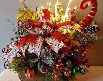 Light Up Elf Centerpiece, Light Up Centerpiece,Christmas Centerpiece, Christmas Elf Centerpiece, Countertop Centerpiece