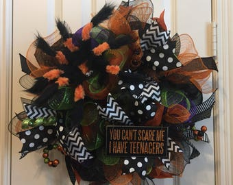 Halloween Spider Wreath, Halloween Wreath, Scary Spider Wreath, Front Door Wreath, Halloween Wreath, Halloween Decor, Halloween Decoration