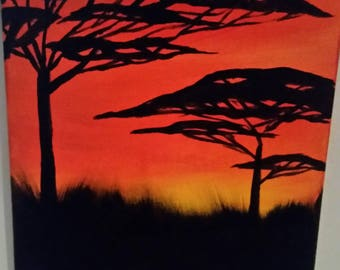 African tree silhouette painting