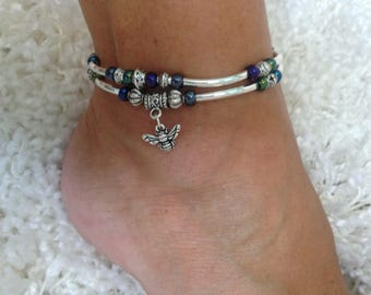 Silver noodle bee anklet