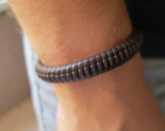 Bracelet leather PU, dark brown coconut, 53 mm