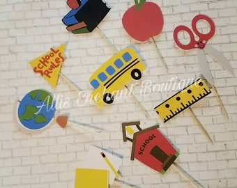 Back to School cupcake toppers , Cake toppers, Party Events, Kids Party Cake Decorations, Party School Ideas 12ct